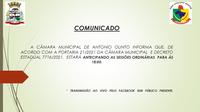 ANTECIPAÇÃO DAS  SESSÕES  ORDINÁRIAS