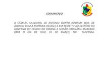 SUSPENSA SESSÃO DIA DIA 01 DE MARÇO
